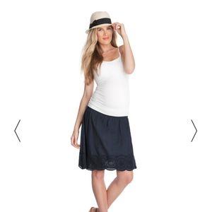 Seraphine Maternity Navy Eyelet Cotton skirt 4